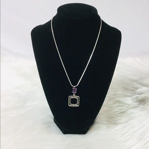 Square pendant necklace with purple stone
